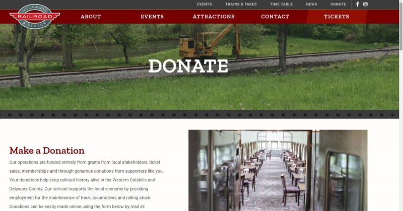 Catskills web design donation page